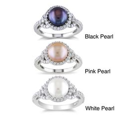 Miadora Sterling Silver Cubic Zirconia and Pearl Ring (8.5-9 mm) | Overstock™ Shopping - Top Rated Miadora Pearl Rings