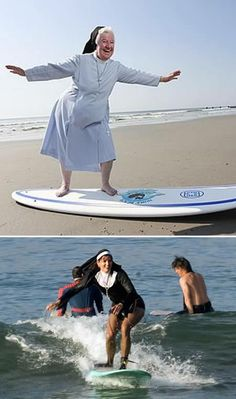 73 year old Surfing Nun, Sister James Dolores.  Below is Sister James of the Sister Servants of Immaculate Heart.  Both at the Nun's Beach Surf Invitational.