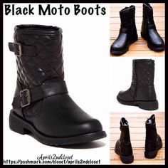 """BLACK MOTO BOOTS Quilted Vegan Leather BLACK MOTO BOOTS NEW WITH TAGS RETAIL PRICE: $58  Black Vegan Leather Moto Ankle Boots   * Vegan quilted Leather construction w/side zip closure.   * Solid vamp & quilted shaft  * Round toe, chunky 1.5"""" block heels   * Ankle buckle details   * Approx. 7"""" high shaft & 12.5"""" opening  * True to size Fabric: PU upper & manmade sole.    Color: Black  Item:  No Trades ✅ Offers Considered*✅ *Please use the blue 'offer' button to submit an offer. Boutique Shoes…"""