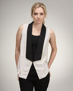 Megan says: Add a chic tuxedo-inspired look to any outfit with this sleeveless jacket. Pair it overtop a standard t-shirt for a casual meets cool vibe or pair with a cocktail dress for an unexpected twist. Megan West, Sleeveless Jacket, Tuxedo, Cocktail, Vest, Toe, Inspired, Chic, Casual