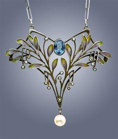 LEVINGER & BISSINGER Jugendstil Pendant Silver Plique-à-jour Pearl W 4.00 cm (1.57 in) | D 5.00 cm (1.97 in) Origin German, c. 1900 Marks 'HL' monogram '900' & 'Depose'