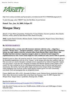 variety about morgue story