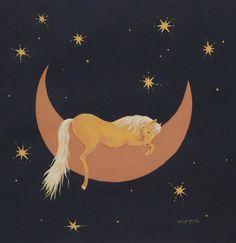 Horse art Sweet Sleep palomino horse painting  print. $39.00, via Etsy.