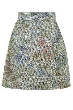 Floral Boucle A-Line Skirt
