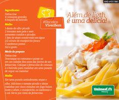 Delicioso Fettuccine! Essa receita substitui a massa tradicional por cenoura. #unimedmanaus