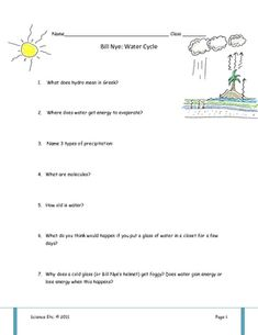 Free water cycle diagram cut and paste activity you will need bill nye water cycle video worksheet ccuart Image collections