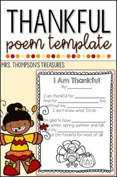 I Am Thankful - Thanksgiving Poem - Classroom Freebies