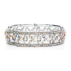 Etched Iridescent AB Crystal Wedding or Prom Stretch Bracelet