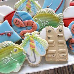 Fishing cookies by Clough Fish Cookies, Fruit Cookies, Fancy Cookies, Iced Cookies, Cut Out Cookies, Cute Cookies, Royal Icing Cookies, Cupcake Cookies, Valentine Cookies