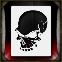 """Skull 9"" Airbrush Stencil Template Airsick | eBay"