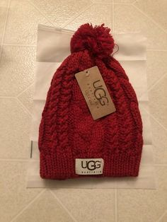 New Womens UGG Australia Knitted Winter Hat Red Beanie Cap  fashion   clothing  shoes 8ff4c50c6765