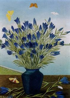 Blaue Enziane mit Schmetterlingen by Adolf Dietrich Swiss naive artist who came to be associated with the New Objectivity movement (artcentric-wiki) New Objectivity, Socialist Realism, John James Audubon, Magic Realism, Political Art, Naive, Flower Art, Still Life, Past