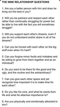 The nine relationship questions relationship questions game, fun questions to ask, dating questions, Relationship Questions Game, Healthy Relationship Tips, Relationship Advice, Relationship Building, Marriage Tips, Happy Marriage, Fun Questions To Ask, This Or That Questions, Dating Questions