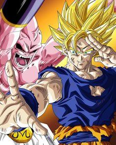 Goku vs Buu l Dragonball Z! One of my favorite seasons! - Visit now for 3D Dragon Ball Z compression shirts now on sale! #dragonball #dbz #dragonballsuper