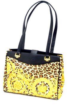 Vintage-Gianni-Versace-Baroque-Print-Black-Leather-Shoulder-Bag