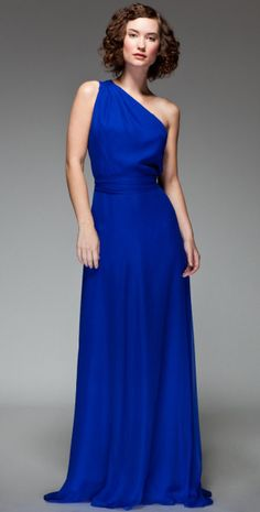 One Shoulder Long Royal Blue Bridesmaid Dress Add Bling Belt And Orange Flowers