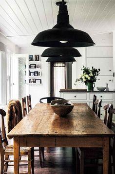 simpleGiant black pendants, beadboard ceiling black and white rustic farm table #LampKitchen