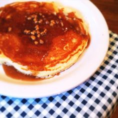 FABULOUS!!!  Elvis-inspired banana pancake with crunchy peanut butter maple syrup at Blue Plate Cafe in Memphis.