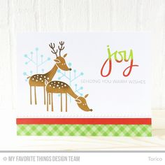 Welcome to Day 3 of the MFT October Release Countdown! Today I'm sharing a clean Christmas card using the Deer Friends stamp set and the H. Christmas Deer, Christmas Wishes, Christmas And New Year, Christmas Cards, Card Tags, I Card, Mft Stamps, Winter Cards, Cards For Friends