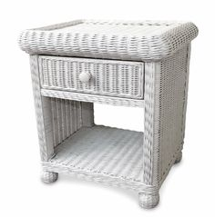 Wicker 1 Drawer Nightstand - #white #wicker #bedroom #furniture