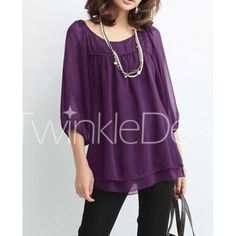 Casual Style Scoop Neck 3/4 Sleeve Solid Color Beading Slimming Chiffon Women's Blouse
