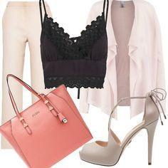 I pantaloni a vita alta, comodi e chic, sono i più trendy della primavera. In questo outfit nei toni del rosa li troviamo abbinati al top nero, al cardigan rosa tenue, alle scarpe in beige rosè e alla borsa shopper in un rosa salmone. Adatto a svariate occasioni...