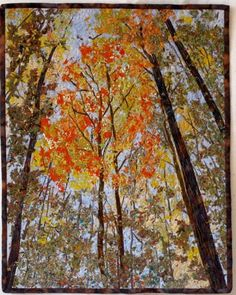 Quilted Wall Hanging  Art Quilt  Autumn Trees  by SallyManke, $495.00
