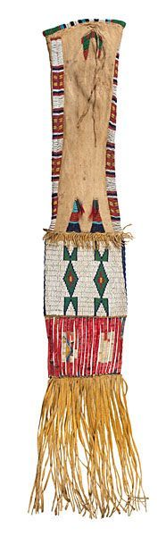 Arapaho Beaded Hide Tobacco Bag 9/20/2013 - Fall American Indian Art thread and sinew-sewn and beaded using colors of red white-heart, greasy yellow, white, light blue, and pea green; bag finished with quilled slats and hide fringe, total length 38 in. late 19th century Sold: $1,722.00 year 2014
