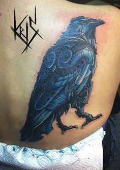 Realism tattoo on scapula by Kristina Deryabina Tattoo 2015, Scapula, Raven Tattoo, Realism Tattoo, Deathly Hallows Tattoo, Tattoo Photos, Watercolor Tattoo, Tattoos, Style