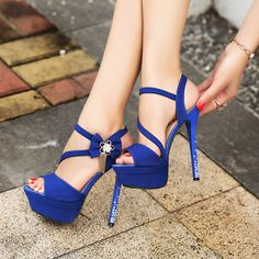 Ladies Royal Blue Peep Pumps Crystal Open Toe Wedding Stiletto High Heels Shoes on Luulla Sexy High Heels, Platform High Heels, High Heels Stilettos, High Heel Boots, Stiletto Heels, Shoes Heels, Sandals Platform, Strappy Sandals, Sandals Outfit