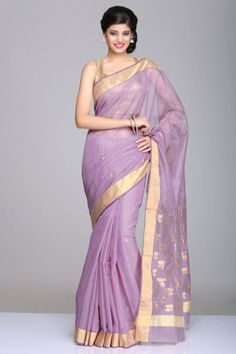 Lavender Chanderi Saree With Gold Zari Border And Floral Motifs On Pallu Indian Attire, Indian Wear, Indian Style, Indian Ethnic, Indian Dresses, Indian Outfits, Indian Clothes, Designer Sarees, Designer Dresses