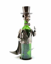 Whimsical Cigar Smoker Metal Wine Bottle Holder