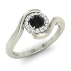 Black Diamond and Diamond  Ring in 14k White Gold (0.33 ct.tw.) - Stilton