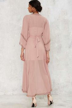 The Jetset Diaries Las Perlas Kimono Dress - Mauve - Midi + Maxi