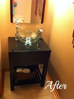 Simple tip from @Kelly Luckyyou for adding style to your #bathroom: Add a glass sink. #FloorandDecor
