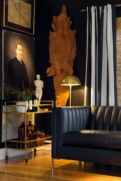 Dark And Moody Room Black Leather Sofa Tufted Pictured Harley Channel Shelter Arm In Brisa Fresco Peppercorn Faux
