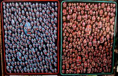 """Two paintings I created for today... """"Divided Electorate"""", consisting of two paintings on stretched canvas, ready to hang. Each are 36"""" x 48"""". the left side has 270 faces painted in blue and the right side is 270 painted in red.  message me or see more about the painting at http://new.sesow.com if you are interested in making it your own. Thanks! Matt Sesow #electionday #electorate #madeindc #sesow #dcart #ivoted #vote"""
