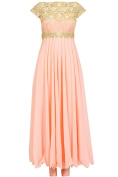 Peach gota and pearl embroidered anarkali set available only at Pernia's Pop-Up Shop.