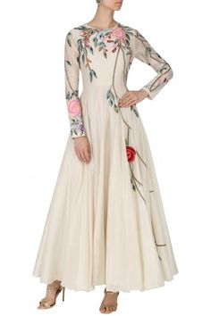 Samant Chauhan presents Off white floral embroidered gown available only at Pernia's Pop Up Shop. Anarkali Dress, Pakistani Dresses, Indian Dresses, Indian Outfits, Indian Designer Outfits, Designer Dresses, Stylish Dresses, Fashion Dresses, Embroidery Fashion