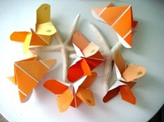 origami butterflies from paint samples! clever!