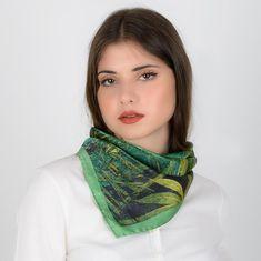 Ready To Ship Brown Green Silk Bandana Kerchief 100/% Silk Scarf 21 inches Neckerchief Hand Dyed Bandanna Gift Idea