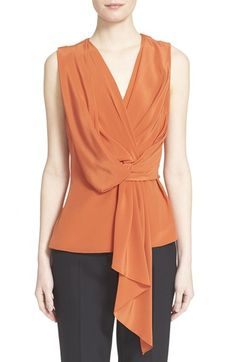 Jason Wu Sleeveless Draped Silk Top available at #Nordstrom
