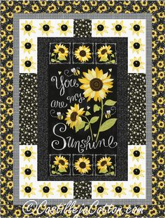 Sewing Block Quilts Sunshine Sunflowers Quilt Pattern - Easy to make using a panel and sunflower blocks for a pieced border. Fabric shown is You are my Sunshine by Timeless Treasures. Pattern Floral, Sunflower Pattern, Pattern Fabric, Quilting Projects, Quilting Designs, Sewing Projects, Quilting Ideas, Quilt Design, Crazy Quilting