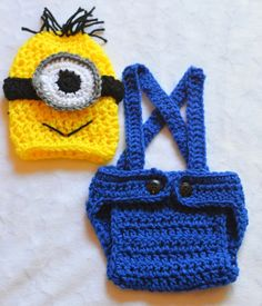 Baby Boy Crochet Despicable Me Outfit. Halloween crochet