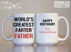 Personalized Father Coffee Mug, Worlds Greatest Farter Father, Merry Christmas Mug, Personalized Christmas Dad Mug, Funny Farter Mug MPH144   ♥ AVAILABLE SIZES 15 oz 11 oz  ♥♥♥ This design is also offered in 11 oz and 15 oz Mugs, 17 oz Latte Mugs, Water Bottles, Pinback Buttons, Keychains, Magnets, Luggage Tags and more! ♥ ABOUT OUR MUGS ♥ All designs are personally created by me and exclusive to DesignsbyLindaNee ♥♥♥♥♥ http://etsy.me/1O2ftEU ♥♥♥♥♥ and DesignsbyLindaNeeToo ♥ Ea...