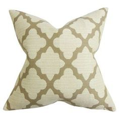 """Cotton pillow with a quatrefoil motif and down fill.  Product: PillowConstruction Material: Cotton cover and 95/5 down fillColor: Toffee and naturalFeatures:  Insert includedHidden zipper closureMade in Boston Dimensions: 18"""" x 18""""Cleaning and Care: Spot clean"""