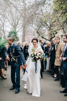 Guard of Honour with Bride in Charlotte Simpson Wedding Dress & Groom in Military Uniform Magical Wedding, Glamorous Wedding, Chic Wedding, Wedding Styles, Wedding Photos, Ghost Bridesmaid Dress, Wedding Bridesmaid Dresses, Charlotte Simpson Bridal, Chic Vintage Brides