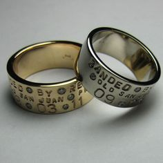 Personalized 14K Gold Duck Band Wedding Ring Set by MetalPressions, $3999.99
