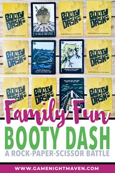 Booty Dash is an awesome family game.Booty Dash is a pirate game of hidden treasure where players rock/paper/scissor their way to victory. Couples Game Night, Board Games For Couples, Couple Games, Pirate Games For Kids, Hobby Kids Games, Fun Card Games, Playing Card Games, Some Cards, Deck Of Cards