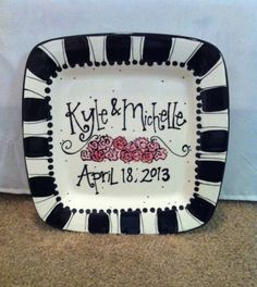 Wedding plate - personalized and hand painted & Personalized ceramic plates